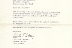 Letter from Curtis LeMay to Dr. Schindler